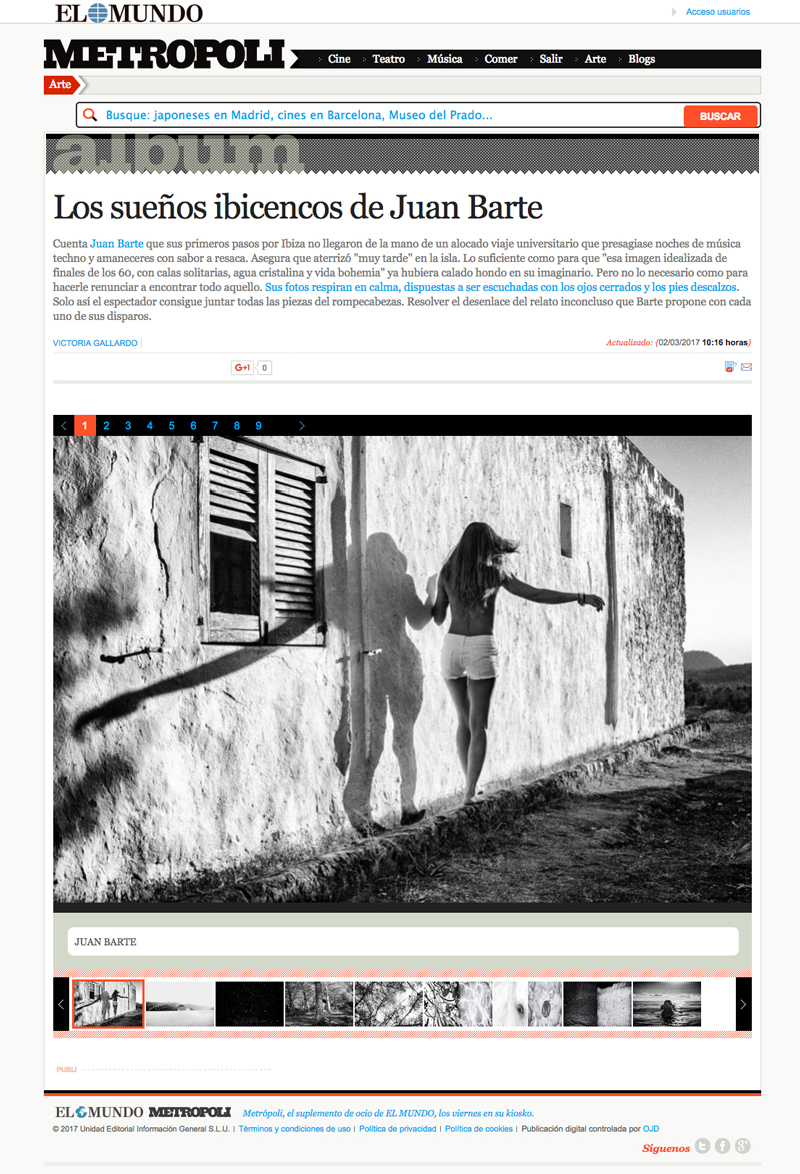 press article by Victoria Gallardo on photographer Juan Barte book Ibiza naked white